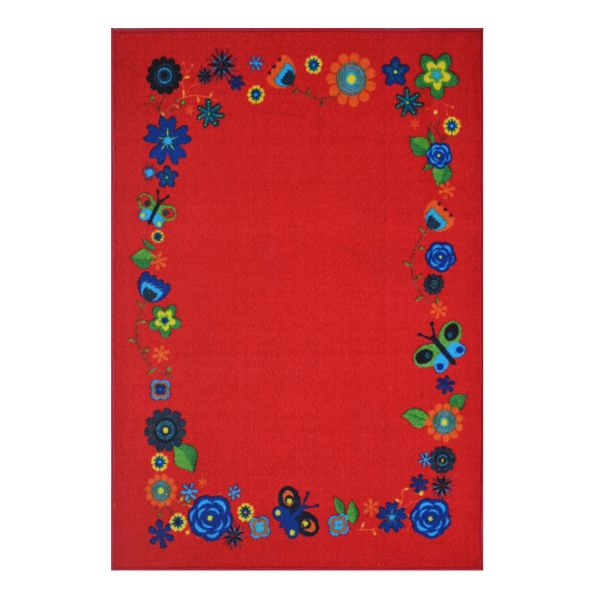 Red Flower Kids Rugs