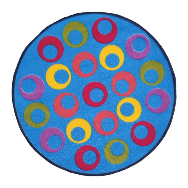 Sajalo blue Round Rug For Kids