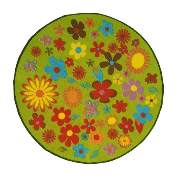 Sajalo Green Flower Rug For Kids