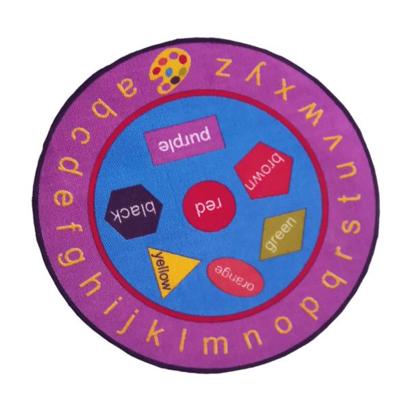 Sajalo Pink Educationl Round Rug For Kids