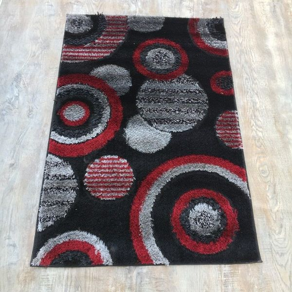Red & Black Shaggy Rug 3x5 ft