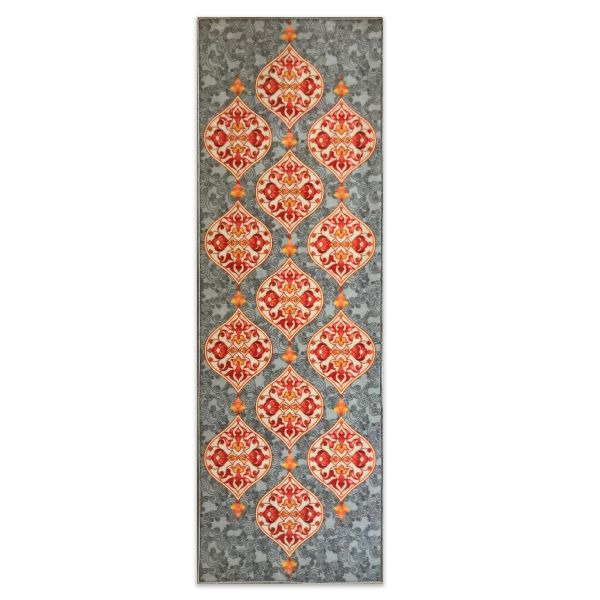 Sajalo Grey Flower ECO Runner 2x6 ft